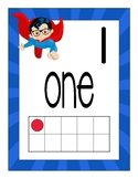 Superheroes Number Posters with number words