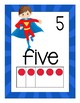 Superheroes Number Posters with pink and number words