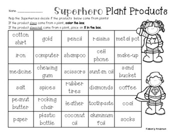 Superheroes Plant Products Color Sheet