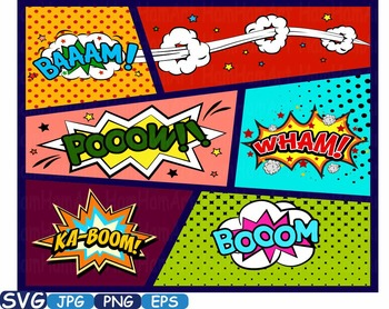 Superheroes Pop Art Text Props Comic Speech Bubble clipart Party Bunting -274S