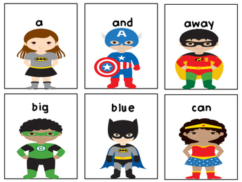 Superheroes Pre Primer Dolch Sight Word Game