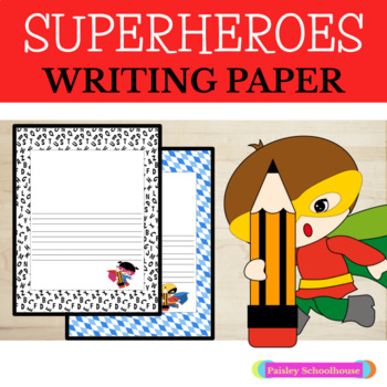 Primary Writing Paper With Picture Boxes and Without: Superheroes