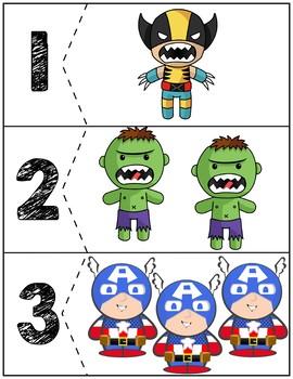 Superheroes Quantity Puzzles #1-6