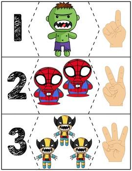 """Superheroes Quantity Puzzles #1-6   """"Show me fingers"""" Version"""