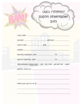 Superheroes Quick Ref. Form - Transportation full page version