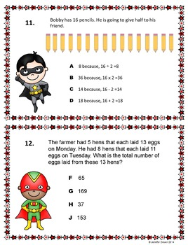 Math Word Problems- Superheroes Task Cards