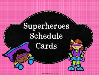 Superheroes Schedule Cards Editable