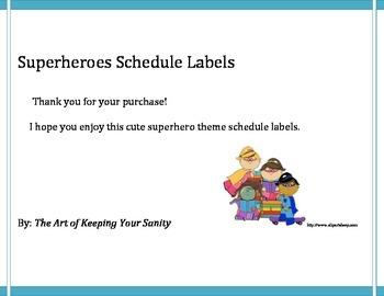 Superheroes Schedule Labels