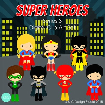Superheroes Series 3, Children Digital Clipart