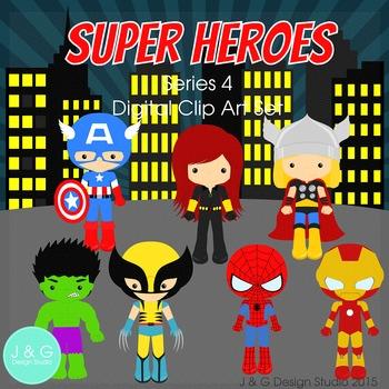 Superheroes Series 4, Children Digital Clipart