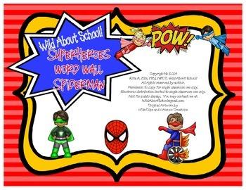 Superheroes Spiderman Word Wall Set
