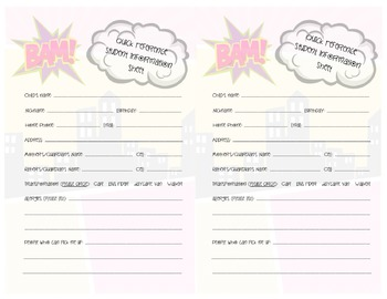 Superheroes Student Quick Reference Form - Transportation 1/2 page version