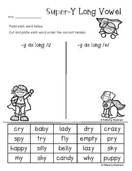 Superheroes: Super-Y Card Sort and Worksheet (Y as a Long Vowel Practice)