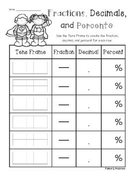 Superheroes - Tens Frame: Fractions / Decimals / Percents