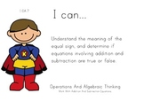 Superheroes Theme 1st grade math Common Core Posters first Grade Standards