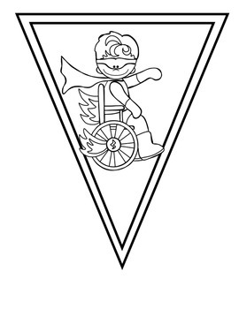 Superheroes Black and White Pennant Banner