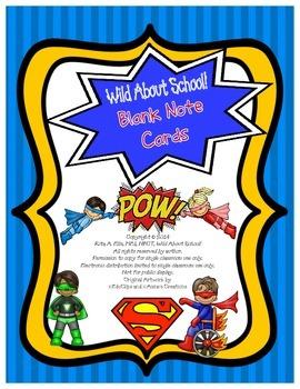 Superheroes Blank Greeting Cards w/Matching Envelopes
