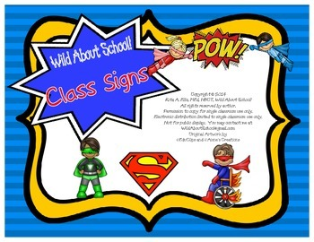 Superheroes Classroom Sign Set