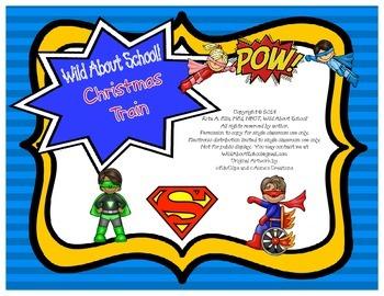 Superheroes Superman Merry Christmas Train Bulletin Board