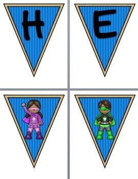 Superheroes Pennant Banners