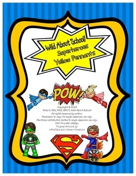 Superheroes Pennant Banner Yellow