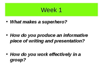Superheroes  Unit of Work- Writing to Explain