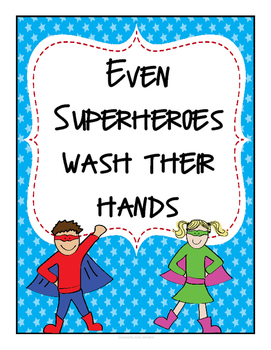 Superheroes Wash Their Hands Poster