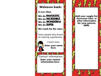 Superheroes Welcome Back Pamphlet for Parents