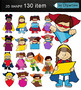Superheroes With 2D Shapes Clip Art