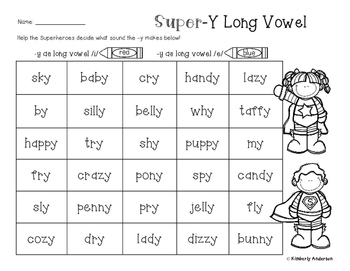 Superheroes Y as a Long Vowel Practice Worksheet