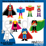 Superheroes clip art - More superhero bodies with books clipart