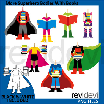 Superheroes clip art - More superhero bodies with books clipart