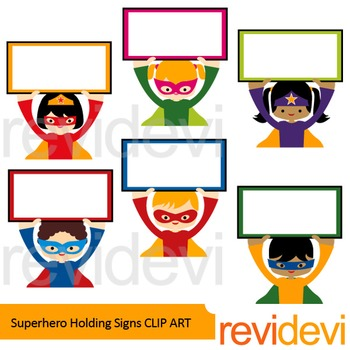 Superheroes holding signs clip art