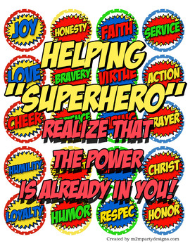 Superheroes of Faith cupcake toppers Printable DIY Personalized Set of 20 Tags