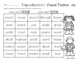 "Superheroes: -ou Vowel Teams Practice (/ow/ like ""ouch"" and /oo/ like ""soup"")"