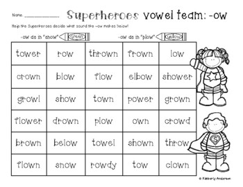 "Superheroes: -ow Vowel Teams Practice (-ow like ""plow"" and -ow like ""snow"")"