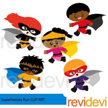Superheroes run clip art