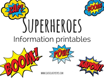 Superheroes set- Information Printables
