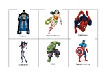 Superheroes set of 12 for classroom theme, groups, labels etc male & female
