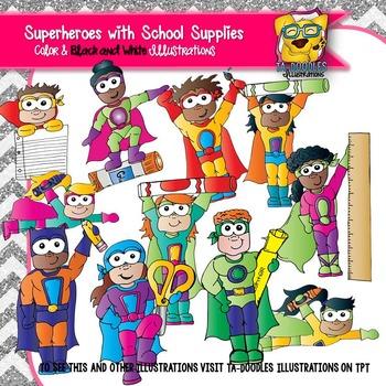 School Supplies Superhero Clipart