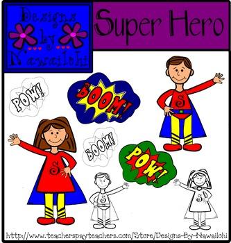 Super Hero Clip Art {Designs by Nawailohi}