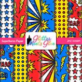 Superhero Clip Art {Scrapbook Paper and Digital Backgrounds for Brag Tags}