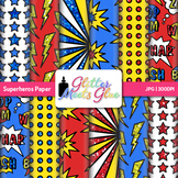 Superhero Clip Art Scrapbook Paper Backgrounds {Glitter Me