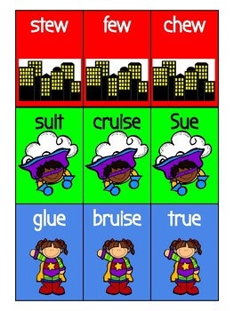 Superheros Away!  Vowel Digraph Other Phonics Game