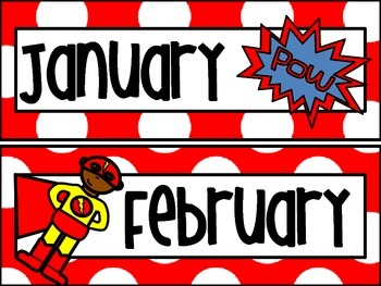 Superheros Theme Calendar