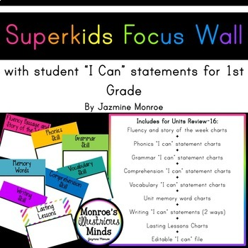 Superkids Focus Wall with I Can Statements -- 1st Grade [2017] [Editable]