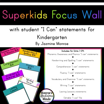 Superkids Focus Wall with I Can Statements -- Kindergarten [2017] [Editable]