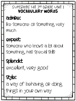 Superkids Hit 2nd Grade Vocabulary Packet