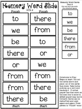 Superkids: Memory Word Slide, Unit 5