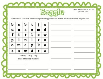 Superkids Pattern and Memory Word Boggle